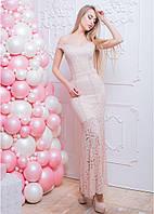 Длинное гипюровое платье с разрезом на ноге и открытыми плечами 66PL582, фото 1