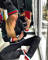 Спортивный вязаный женский костюм с полосками 18SP153