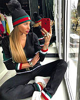 Спортивный вязаный женский костюм с полосками 18SP153, фото 1