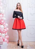Платье с неопреновой юбкой и открытыми плечами 66PL584, фото 1