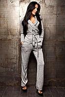 Женский брючный костюм из теплого трикотажа с кофтой под пояс 14KO209, фото 1