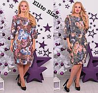 Принтованное платье из стрейч-коттона в больших размерах 6BR290