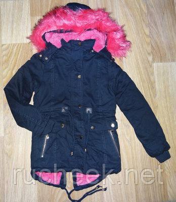 Зимняя куртка парка  для девочек на меховой подкладке, размер 12- 14 лет,  S&D  KF-63