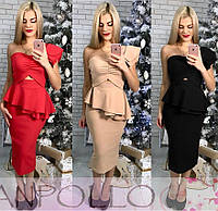Женский юбочный костюм с баской и юбкой-карандаш ниже колена 60KO213