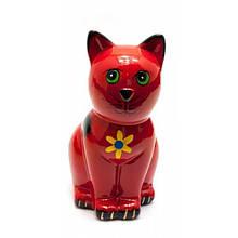 Копилка красная керамическая Кот