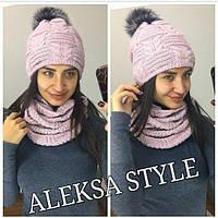 Женский комплект шапка и шарф из полушерсти 52GO76