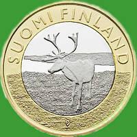Финляндия 5 евро 2015 г. Провинция Лапландия - олень.