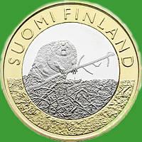 Финляндия 5 евро 2015 г. Провинция Сатакунта - бобер.