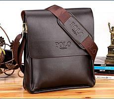 Мужская сумка POLO Videng Коричневая 21х24х7 | Кожаная сумка на плечо | Качественная!
