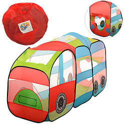 Палатка M 3334 (6шт) паровозик, 1вход на завязках, в сумке, 40-40-4см