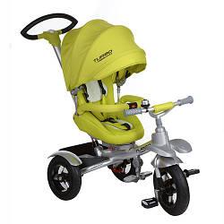 Велосипед M 3196-2A (1шт)три кол.рез(12/10)алюм.рама,поворот,фикс.пед,рем.безоп.,торм.звон,салатов