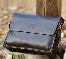 Мужская сумка POLO Videng A4 classic | Кожаная сумка на плечо | Качественная! Коричневая - черная