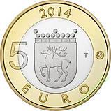 Фінляндія 5 євро 2014 р. Провінція Аланди - орел., фото 2