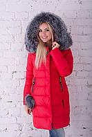 Шикарный тёплый пуховик с натуральным мехом чернобурки Peercat 17-5135 Красный