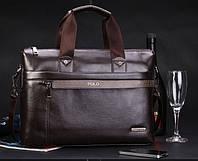 Мужская сумка POLO Videng A4 Fashion | Кожаная сумка на плечо | Качественная! Коричневая - черная