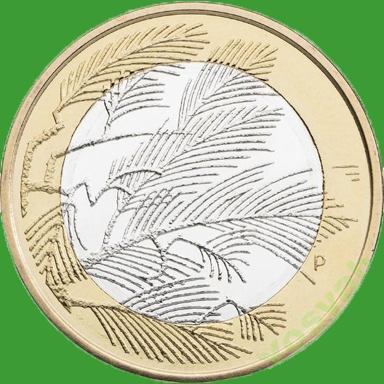 Фінляндія 5 євро 2014 р. Північна природа - сосни.