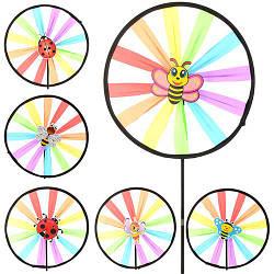 Ветрячок M 2413 (200шт) размер маленький,диам.25см,палочка40см,ткань,6видов,в кульке,25-25-3см