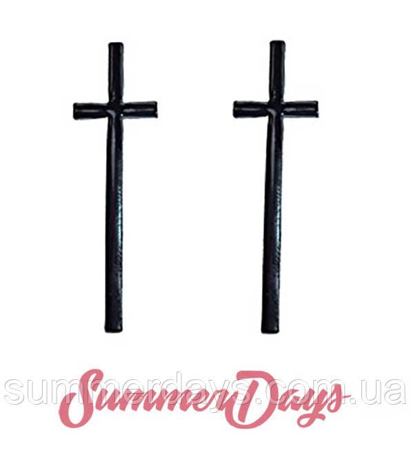 Серьги крест черные