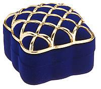 Футляр Золотая сетка под кольцо синий 12 шт