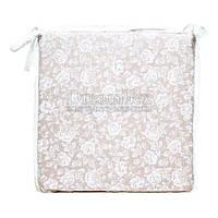 """Подушка на стул с кружевом Прованс """"White Rose"""" 40х40 см (003701)"""