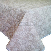 "Скатерть на стол с кружевом Прованс ""White Rose"" D-140 см (003798)"