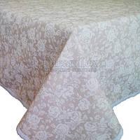 "Скатерть на стол с кружевом Прованс ""White Rose"" D-200 см (003799)"