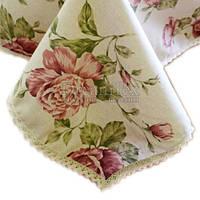 """Скатерть на стол с кружевом Прованс """"Large Pink Rose"""" D-200 см (003775)"""