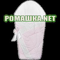 Толстый зимний конверт-плед на выписку верх, подкладка 100% хлопок утеплитель холлофайбер 90х90 2910 Розовый 2
