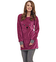 Теплая  пижама с кроликом, цвет баклажан