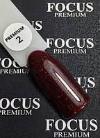 Гель-лак FOCUS premium №002 (бордовый, микроблеск), 8 мл