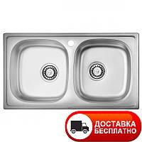Мойка кухонная 7843 D две чаши врезная Ula полированная 0,8 мм глубина 18 см Бесплатная доставка