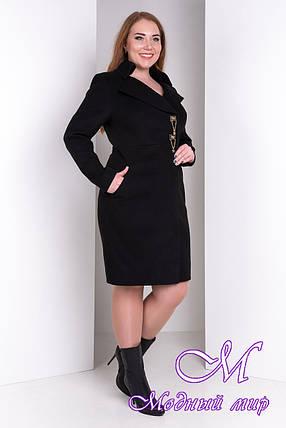 Женское черное демисезонное батальное пальто (р. XL-4XL) арт. Магия донна дем. - 2287, фото 2