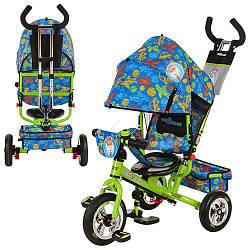 Велосипед LE-3-01 (1шт) Чудо Остров,надувные три колеса,колясочный,зелено-синий,усил.двойн.ручка,подшипники