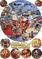 Печать съедобного фото - Ø21 см - Вафельная бумага - Винтажная новогодняя открытка №18