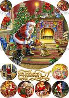 Печать съедобного фото - Ø21 см - Сахарная бумага - Винтажная новогодняя открытка №20