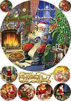 Печать съедобного фото - Ø21 см - Вафельная бумага - Винтажная новогодняя открытка №21