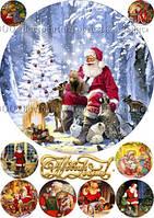 Печать съедобного фото - Ø21 см - Сахарная бумага - Винтажная новогодняя открытка №22