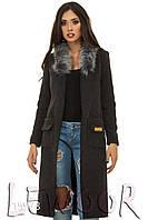 Деловое пальто-кардиган из кашемира Темно-серый, Размер 42 (S)