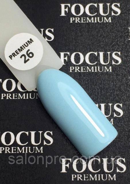 Гель-лак FOCUS premium №026 (нежно-голубой, эмаль), 8 мл