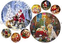 Печать съедобного фото - Ø14,5 см - Сахарная бумага - Винтажная новогодняя открытка №3