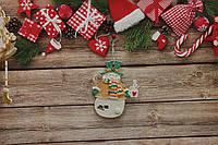 Новогодняя игрушка снеговик с чашкой чая,3D эффект, фото 1