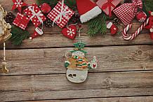Новогодняя игрушка снеговик с чашкой чая,3D эффект