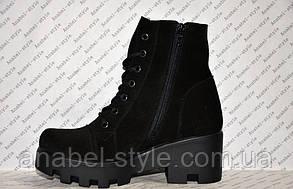 Ботинки-берцы короткие зимние из натуральной замши черные на шнуровке и толстой тракторной подошве код 1128, фото 2