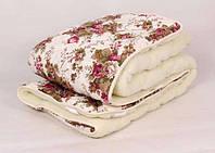 """Теплое одеяло Евро размера из овечьей шерсти """"Лери Макс"""" - цветы на бежевом"""