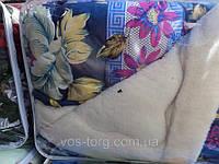 """Теплое одеяло Евро размера из овечьей шерсти """"Лери Макс"""" - цветы"""