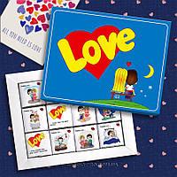 """""""Love is""""  - шоколадный набор с милыми признания 60 г"""