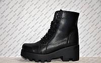 Ботинки из натуральной кожи черные на шнуровке и толстой тракторной подошве весна-осень код 1131