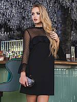 Женское вечернее черное платье с рюшей р.46,48