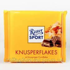 Шоколад Ritter Sport з хрусткими пластівцями 250г .