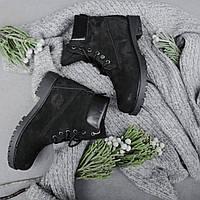Ботинки Timberland 6 inch Black made in USA женские тимберленд (С Мехом)